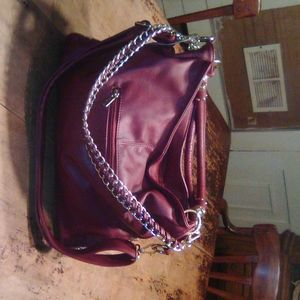 Charming Charlies burgandy satchel